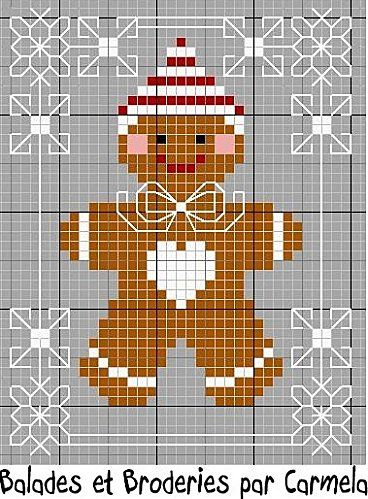 Mr. Gingerbread for Christmas ... is he not cute enough to eat? / galleta de jengibre en punto de cruz patrón / pattern
