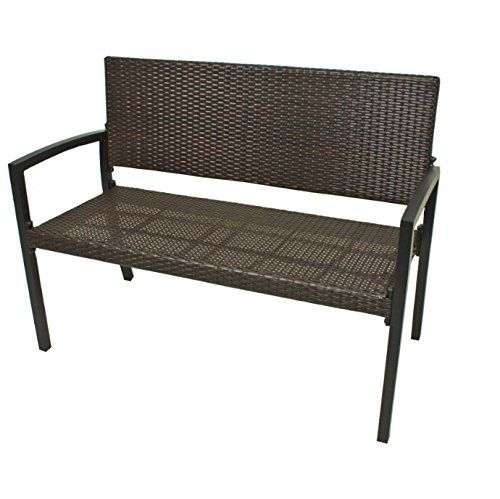 modern polyrattan wicker garden bench seats 2 people durable aluminium frame