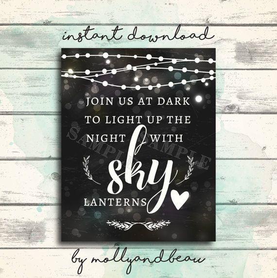 Wedding Sign Sky Lantern Send Off Light up the Sky by MollyandBeau