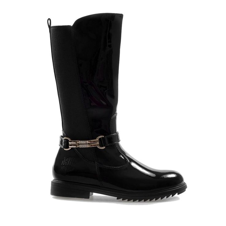 Lelli Kelly Girls Black Patent Boot LK7650 Diletta Alto Nero Vernice Boot + Gift