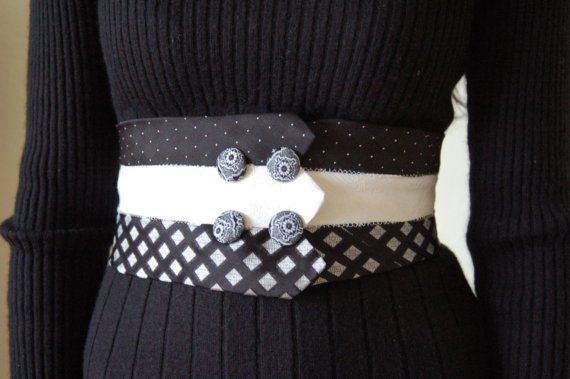 Necktie Corset Belt with buttons and bow by rustycuts