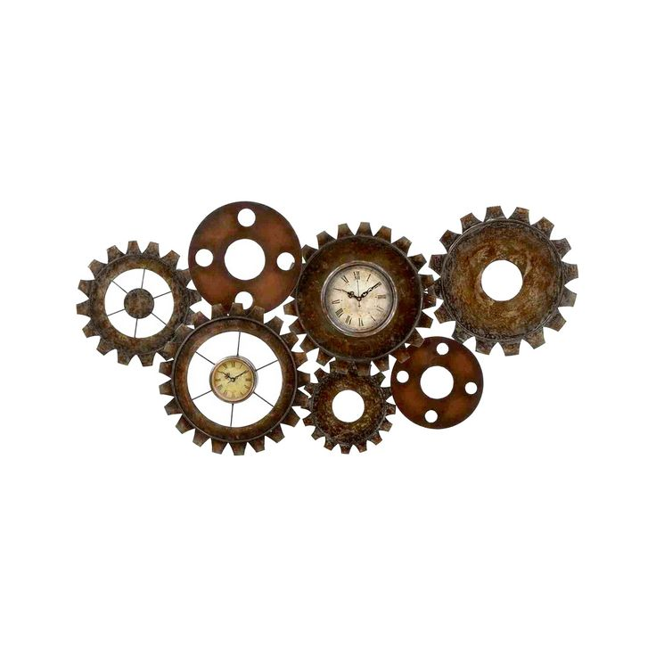 Grinding Gears Clock   Cool, Vintage Inspired Style With Two Classic,  Rustic Faces With Roman Numerals Give It A Hit Of Steampunk Edge.
