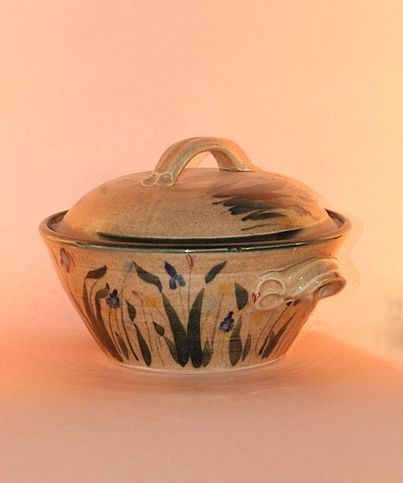 Floral Designs on Porcelain: Domed Casserole Dish with Garden Green Decoration  Available in various sizes and glazes.