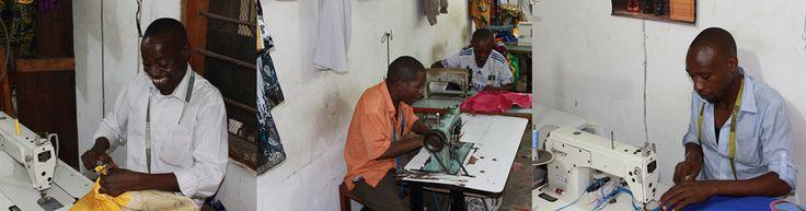 Kleermakers van Thamani Fashion met veel plezier aan het werk.