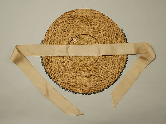 Ribbon is stitched to the UNDERSIDE of the crown. Bergère hat Date: 18th century Culture: British Medium: straw Dimensions: [no dimensions available] Credit Line: Purchase, Irene Lewisohn Bequest, 1969