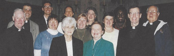 Nine new Paulist Associates celebrated a Rite of Commitment with the Paulist communities at Immaculate Conception and John XXIII Churches in Knoxville, Tennessee. Welcoming the Associates are the Paulist Fathers Jim Haley and Eric Andrews, left; Terry Ryan and Ted Vierra, right. This picture appeared in the January 25, 2002 issue of Paulist Today.