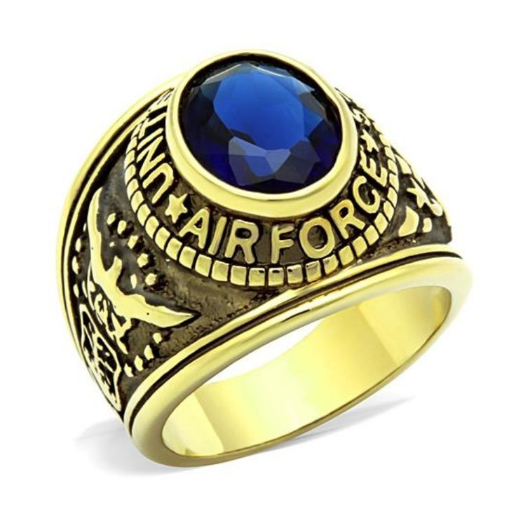 American Air Force Military ring Montana Blue stone Fashion Hot Sale High quality Crystal Fashion 316 Stainless Steel Men Ring
