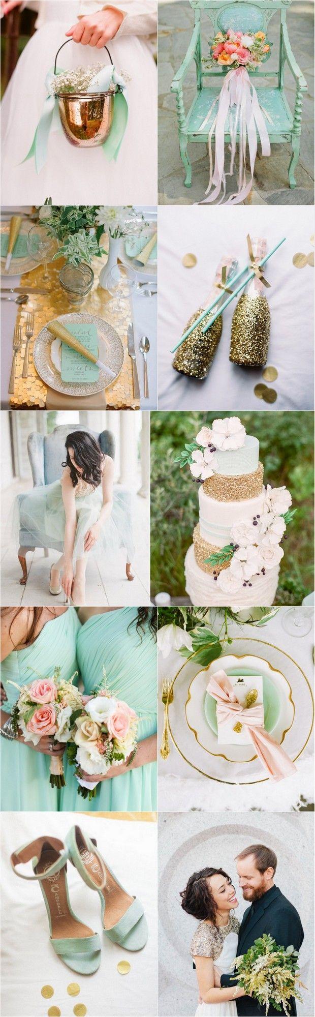 """Menta, dorado y rosa. Una paleta que nos encanta en #Camasha. Creemos que la selección de los colores de tu evento y tu ropa es esencial para definir el estilo de tu #boda. Te esperamos también en nuestro sitio camasha.com donde encontrarás nuestras línea de moda """"Wedding Collection"""""""