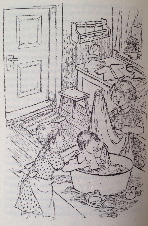 Illustratie Ilon Wikland uit 'De kinderen van Bolderburen'