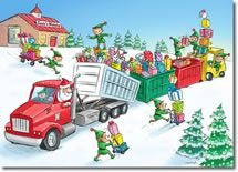SW-00166 Industry Specific Christmas Card for the roll off and trash company industry.Truck Transportation , Refuse Trash Garbage, Recycling, Waste Management, Trash Service, Trash Pickup, Garbage Pickup, Demolition Contactor Christmas Card, Rolloff Holiday Card, Roll off Truck Christmas Card, Rolloff Container Holiday Card.