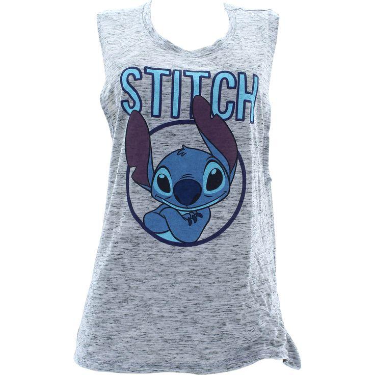 Disney - Women's Stitch Side Knot Muscle Tank Tops - Blue