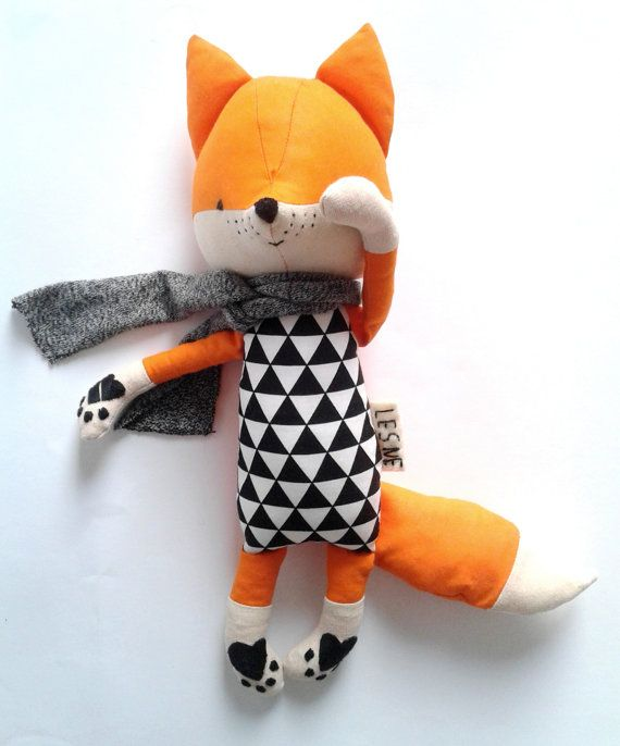 LOIC the fox. made-to-order. eco toy. gift for children. stuffed fox. textile fox. kids room decorative fox.