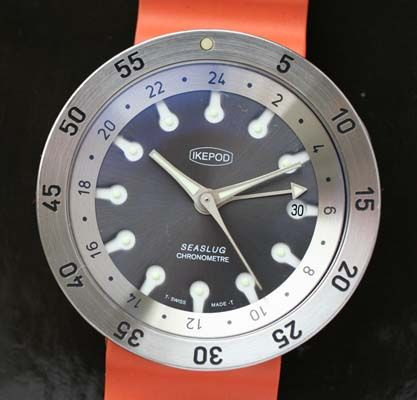 Ikepod Seaslug, grey dial divers GMT watch with original bracelet - Used and Vintage Watches for Sale