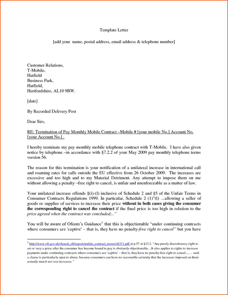 contract termination letter sample free denial templatereport - termination contract sample