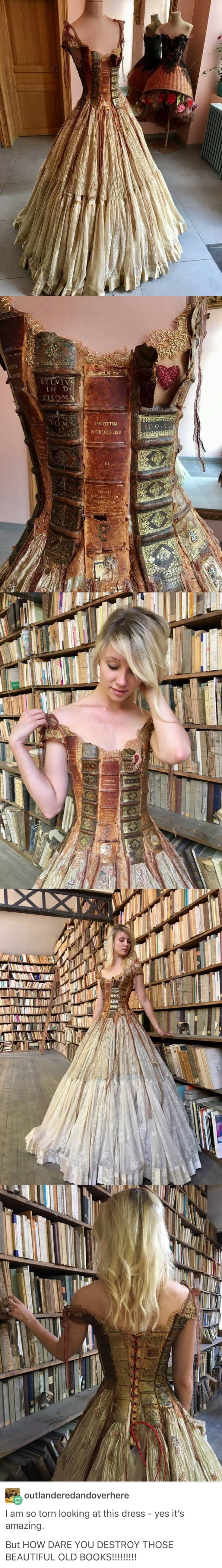 Perhaps the books were already torn apart from being read so much as someone's favorite book and they just didn't want to throw away the spines and such. That would be acceptable. https://www.steampunkartifacts.com