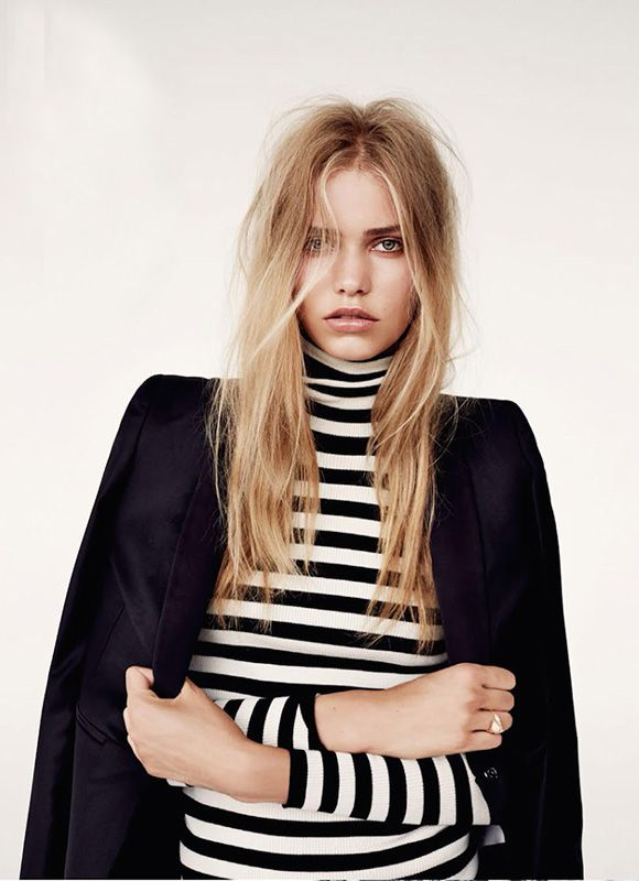 Striped turtleneck and blazer.