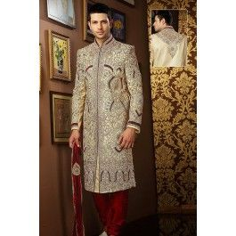 Presenting Cream Banarasi Silk #Sherwani with Embroidered Order Now@ http://zohraa.com/men/sherwani/officewear-casual-orange-faux-georgette-and-viscose-premium-kurti-fab-qgkrk26tpdtl.html. Rs. 30047.