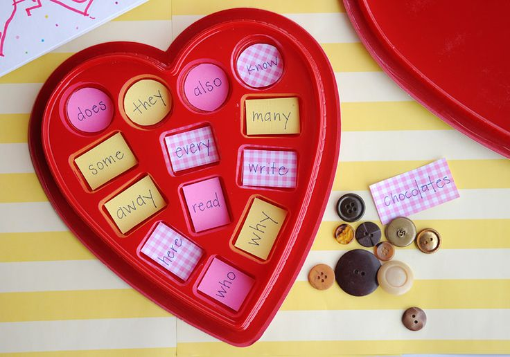 "save your chocolate candy box and turn into a sight word game. use brown buttons as ""chocolates"" to place down when the word is read."