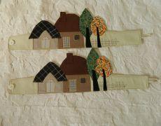 Invelitoare perdea - casute si pomi/ patchwork