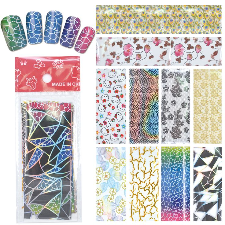 YZWLE 1 Pack(10Pcs) DIY Nail Art Transfer Foil Decal Beauty Craft Decorations Accessories For Manicure Salon #XKT-N22