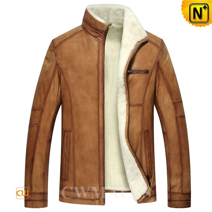 CWMALLS Mens Shearling Winter Jacket CW857032 Winterized men's shearling jacket made of imported Turkey genuine calfskin leather shell and lamb fur shearling interior lining. Warm shearling winter jacket with shearling stand collar, two side pockets, and front zip closures.  www.cwmalls.com PayPal Available (Price: $1357.89) Email:sales@cwmalls.com