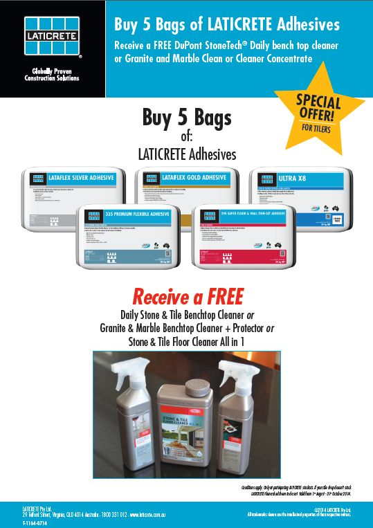 August - 31 October Tiler Promo.  Laticrete Australia Conversations