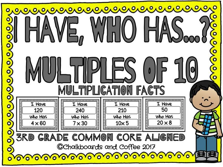I Have, Who Has Multiples of 10 Multiplication focuses on reviewing the skill of multiplying one-digit whole numbers by multiples of 10 in the range 10-90. I Have, Who Has Multiples of 10 Multiplication includes: ★ 36 multiples of 10 multiplication game cards ★ A blank page of game cards, so that you can tailor this game to meet your students' needs ★ Instructions for how to play