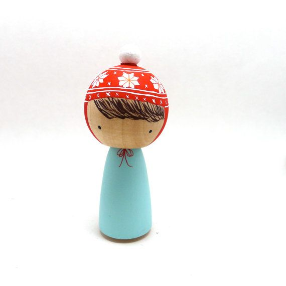 Wooden Peg Doll Kokeshi Girl with Winter Hat by abbyjac on Etsy, $25.00