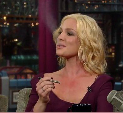 Katherine Heigl is the star of the upcoming romcom Life As We Know It, and she was one of the first celebrities to demonstrate her e-cigarette – on the David Letterman Show, no less. She convinced David to try a puff, and says that it's helping her to quit smoking for real. #CelebrityVapers