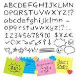 ベクター: 手書き鉛筆風アルファベット 数字 記号点