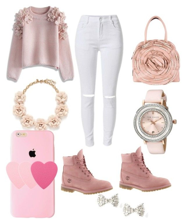 """pink"" by simssunshine on Polyvore featuring Chicwish, Timberland, Valentino, Ted Baker, J.Crew, Sephora Collection, women's clothing, women's fashion, women and female"
