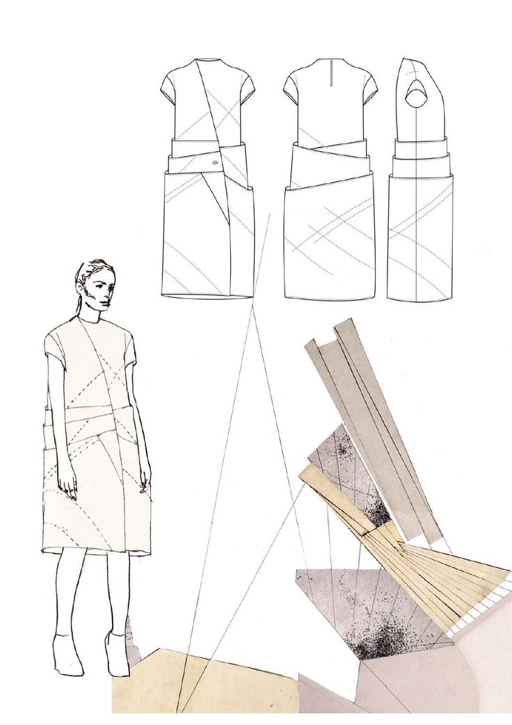 Fashion Sketchbook page with dress design drawings & pleat research - fashion illustration; fashion portfolio layout // Victoria Cumming