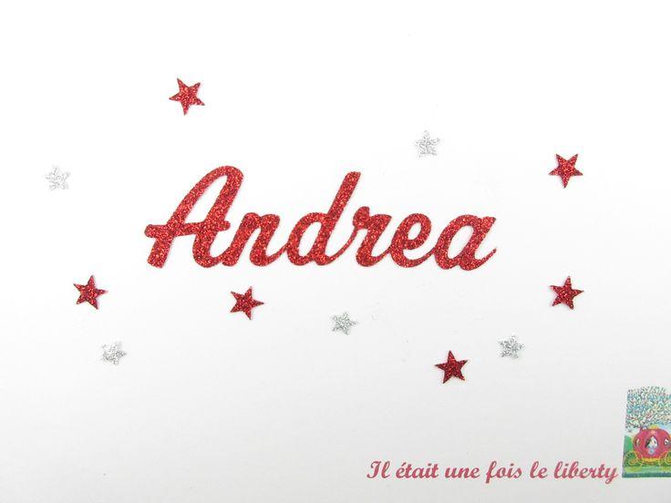 Prénom thermocollant personnalisé de 6 lettres (en taille 1, Andrea exemple proposé) en tissu pailleté (coloris au choix). : Ecussons, appliques par il-etait-une-fois-le-liberty
