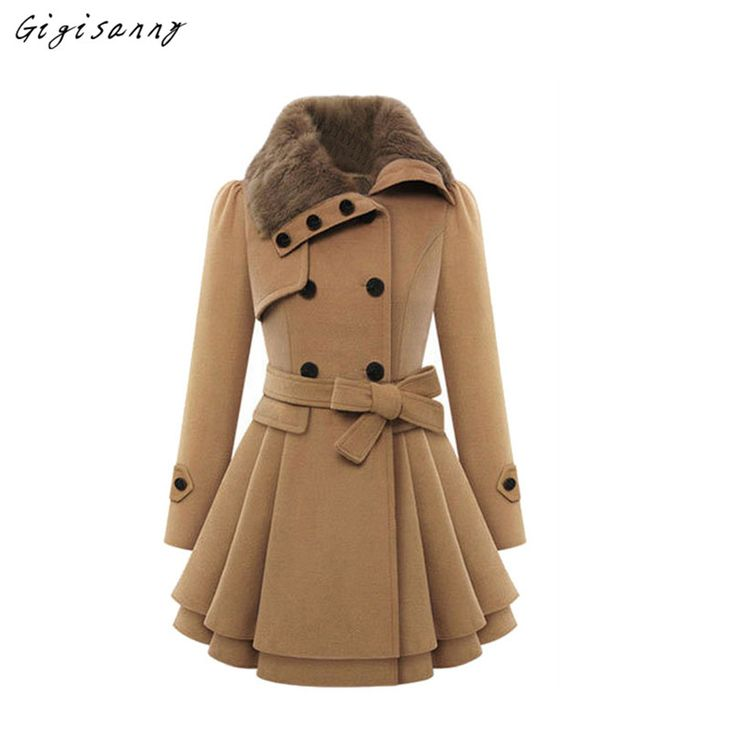d02e027f6c9 2017 Autumn winter women black wool coat fur collar oblique zipper long  woolen jacket plus size ...