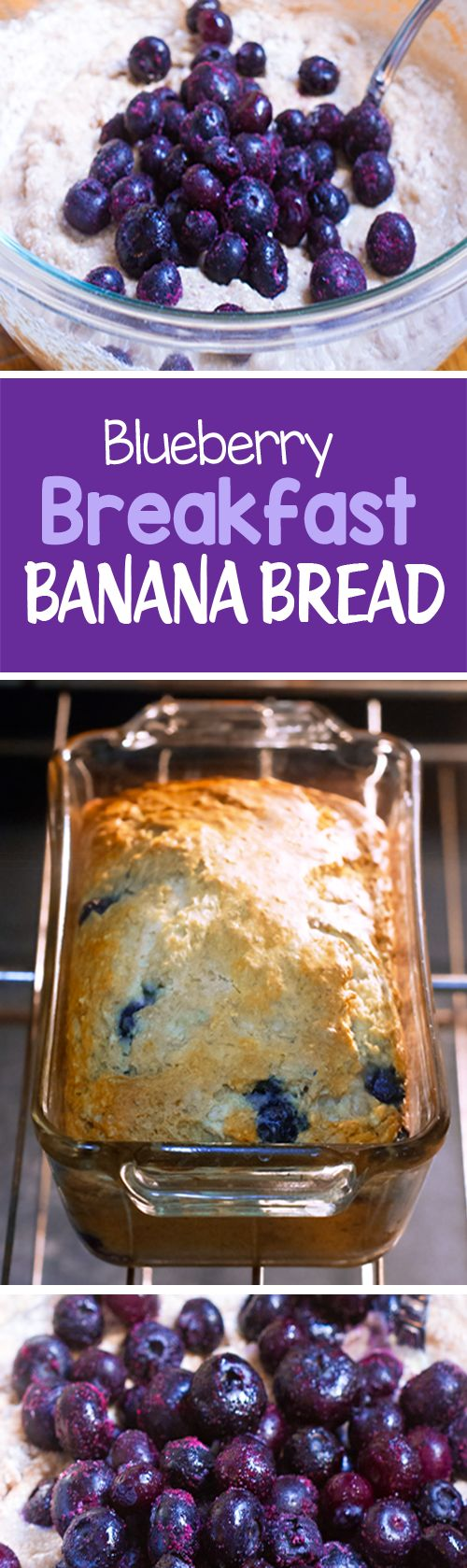 Blueberry Banana Bread, with NO oil, and no refined sugar, great for breakfast or a healthy snack