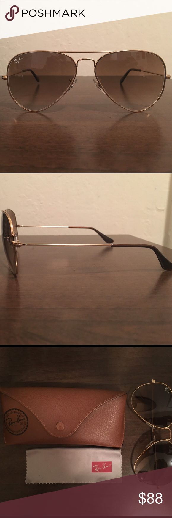 Ray Ban Sunglasses Gold Aviators, worn a few times, like new. Ray-Ban Accessories Glasses