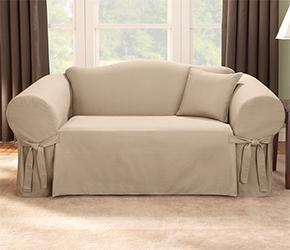 www.ChairandSofaCovers.co.uk - Loden Sofa Cover 2 Seat / Loveseat. Colour: Sand they do a nice green too