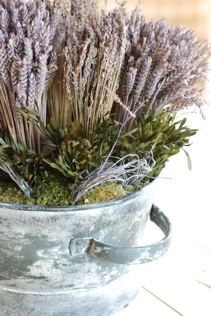 dried lavender arrangement in a great metal container