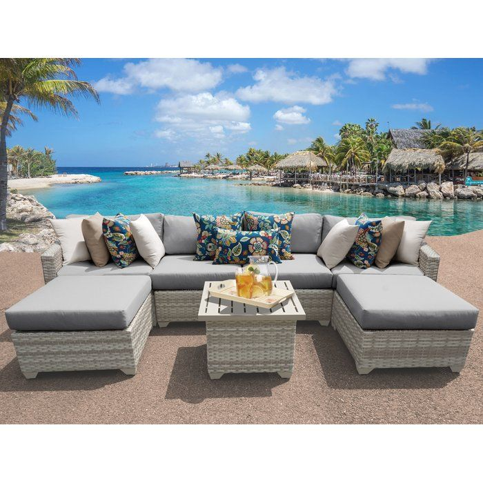 Ansonia 7 Piece Sectional Set With Cushions Wicker Patio Furniture Set Patio Furniture Sets Outdoor Wicker Patio Furniture