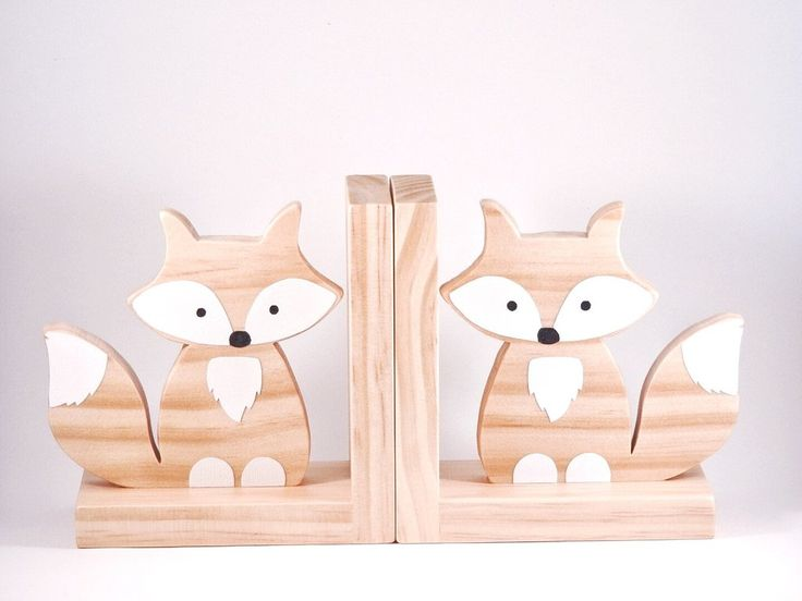 Raw Timber Fox Bookends