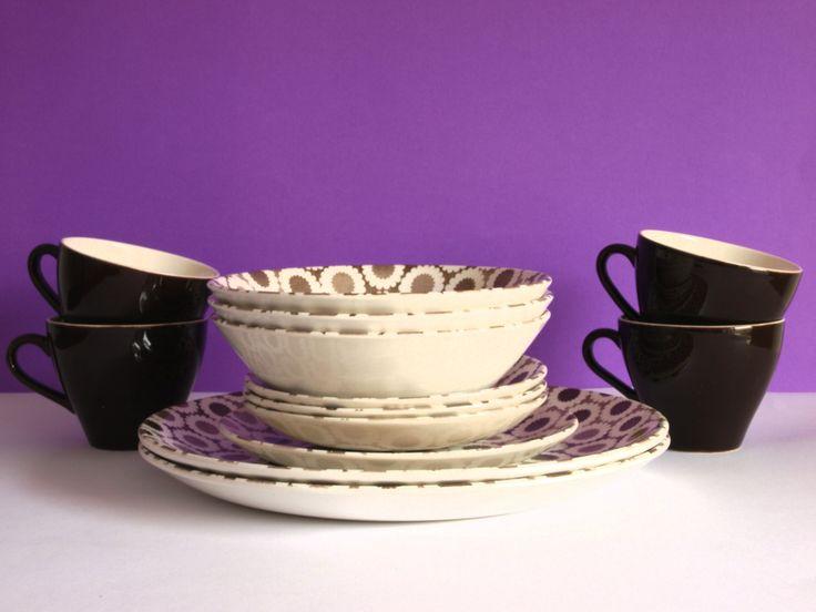 Vintage Kelston Ceramics 70s Mod Nova Daisy Pattern Dinnerware Set - Crown Lynn Flower Power 13 pieces - Made in New Zealand - Gorgeous & 99 best Crown Lynn Kelston Ceramics Genuine Ironstone Made in New ...