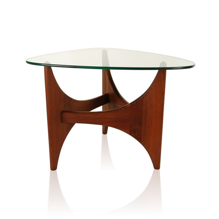 Mid century modern side table by renowned furniture designer Adrian Pearsall (1925-2011). Stylish triangular shaped base with glass top.