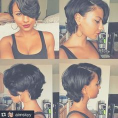 A follower requested more short hairstyles for inspiration. Double tap if you would like to see more too! #MyRegro #NaturalHair #RelaxedHair #HHJ