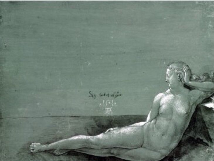 Albrecht Dürer (Ger. 1471-1528)Reclining Nude (1501) Brush and pen in black with white heightening on green prepared paper(17x 22 cm)