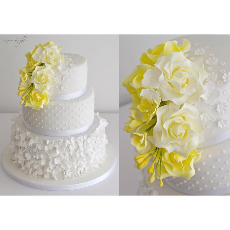 "Polubienia: 598, komentarze: 12 – Sugar Ruffles (@sugarruffles) na Instagramie: ""Petal ruffle wedding cake with Swiss dots and cascading yellow roses and freesia #sugarruffles…"""