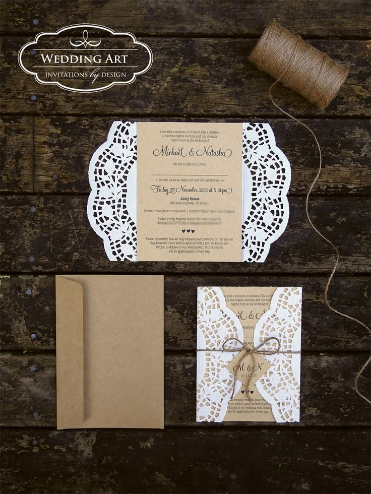 Gorgeous rustic wedding invitations printed on Kraft
