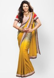 Yellow coloured embellished saree for women by Touch Trends. Made from georgette, this saree measures 5.5 m in length, and comes with unstitched blouse piece of 0.8 m.