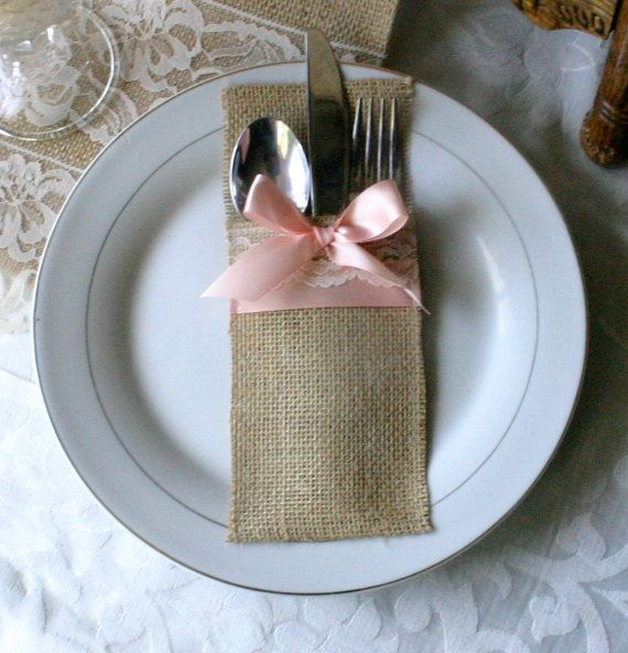 burlap wedding silverware holder, Burlap cutlery holders, 6/21 wedding cutlery holders, country wedding, French Victorian weddings. $21.00, via Etsy.