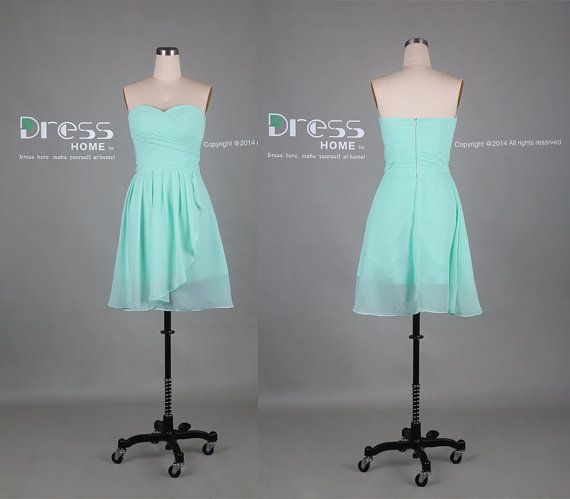 Mint Green Sweetheart Chiffon Knee Length Bridesmaid by DressHome