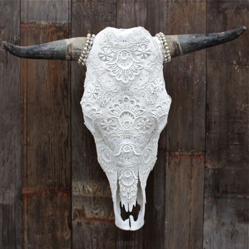 McQUEEN LACE Cow Skull - great accent for a cowgirl's home.